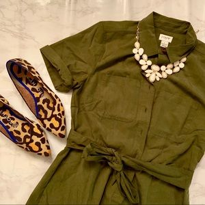 NWOT J.Crew Factory Olive T-Shirt Dress